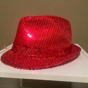 New Women's Red Sequin Fedora Hat